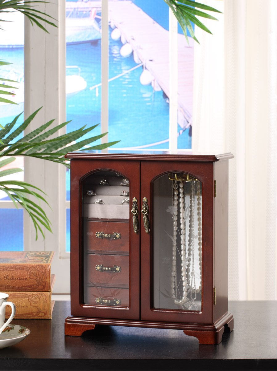 Nathan Direct Cabby Dual Case Jewelry Box with 3 Drawers, Ring Holders, and Necklace Hooks, Mahogany 1033M