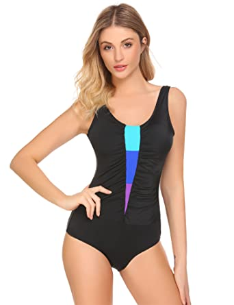 11df7af52e Ekouaer Womens One Piece Sport Bathing Suit Swimming Costume Comfortable  Swimwear