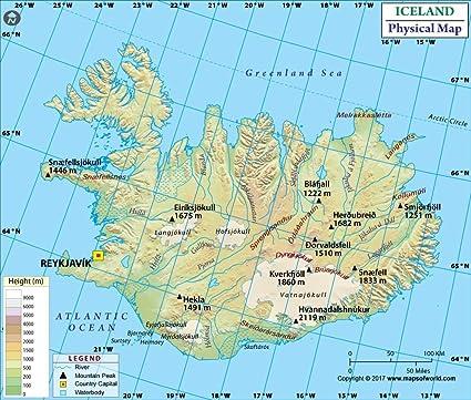 Islandia Mapa Físico (36