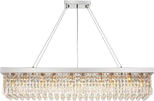 7PM Rectangle K9 Crystal Chandelier Modern Rectangular Pendant Light Fixture
