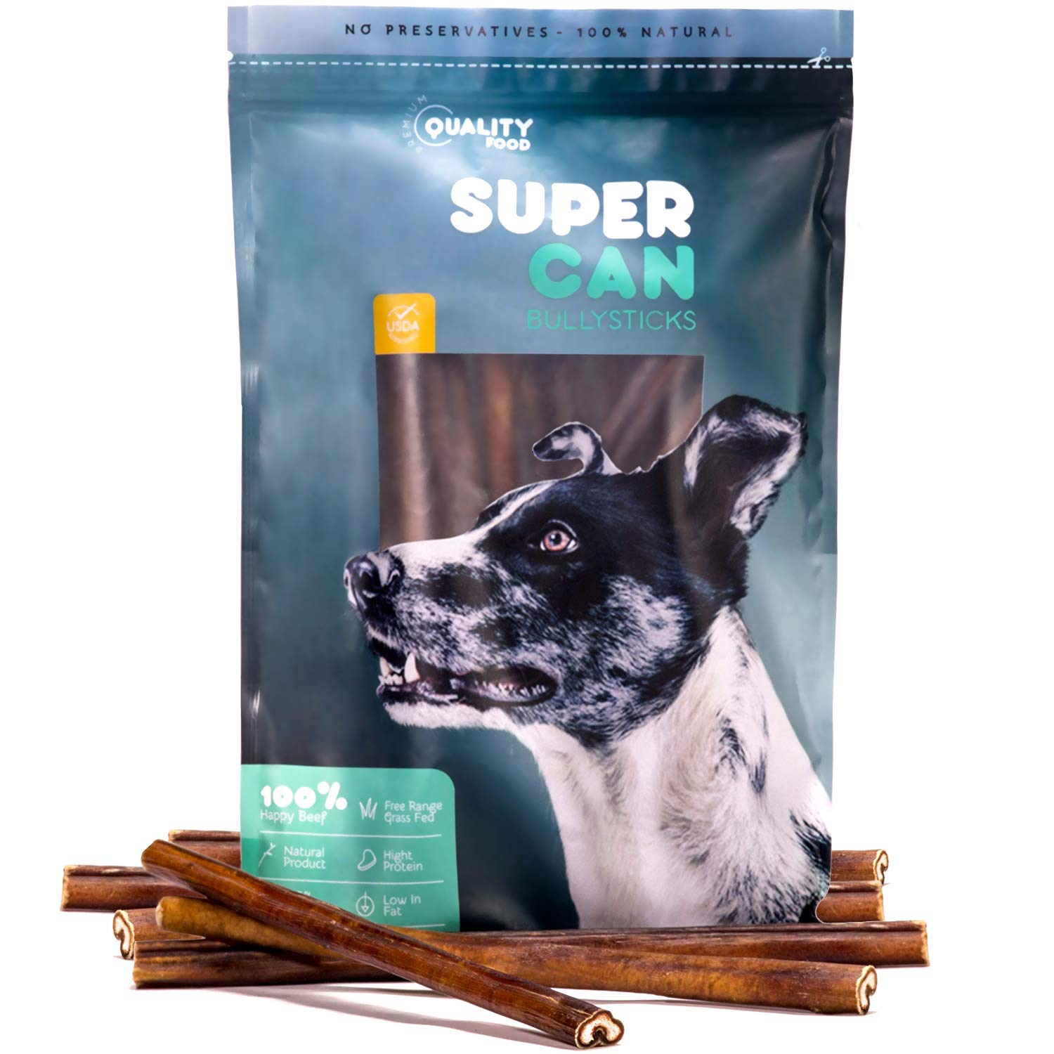 SUPER CAN BULLYSTICKS 12-inch Standard Odor Free Bully Sticks [ 20 Pack ] Premium Free Range Grass Fed Beef, 100% Natural Dog Treats and Chews. (31oz / 1.94 lb)