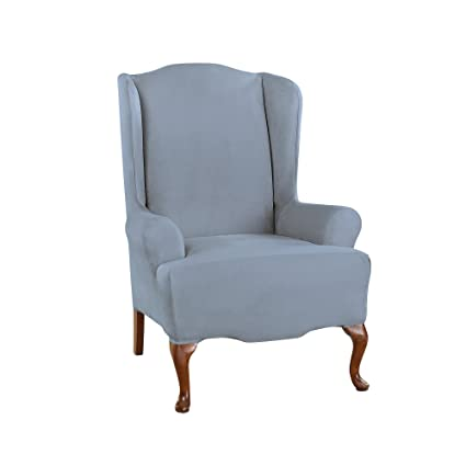 sure fit ultimate heavyweight stretch suede wing chair slipcover pacific blue wing chair - Wing Chair Slipcover