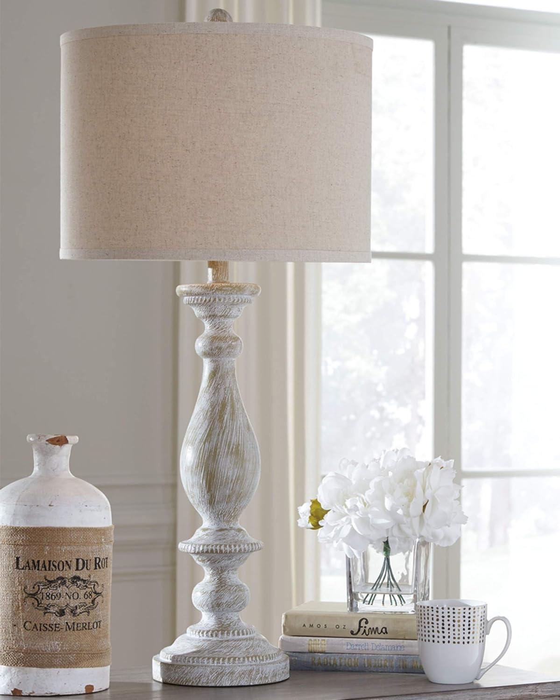 Signature Design By Ashley Bernadate Vintage Table Lamp Set Of 2 Whitewash Furniture Decor