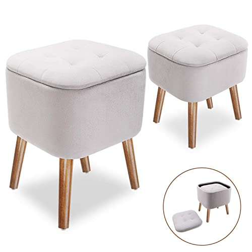Cube Pouffe Storage Stool with Legs, 2 Pack in 1 Design Upholstered Flannel Footrest Tufted Storage Ottoman Set of 2 for Home, Light Grey
