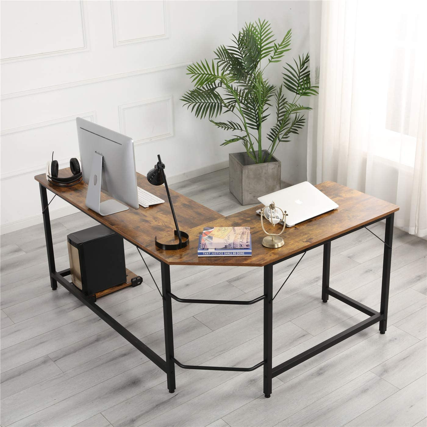 Homelody L-Shaped Corner Table Office Writing Workstation Computer Gaming Desk