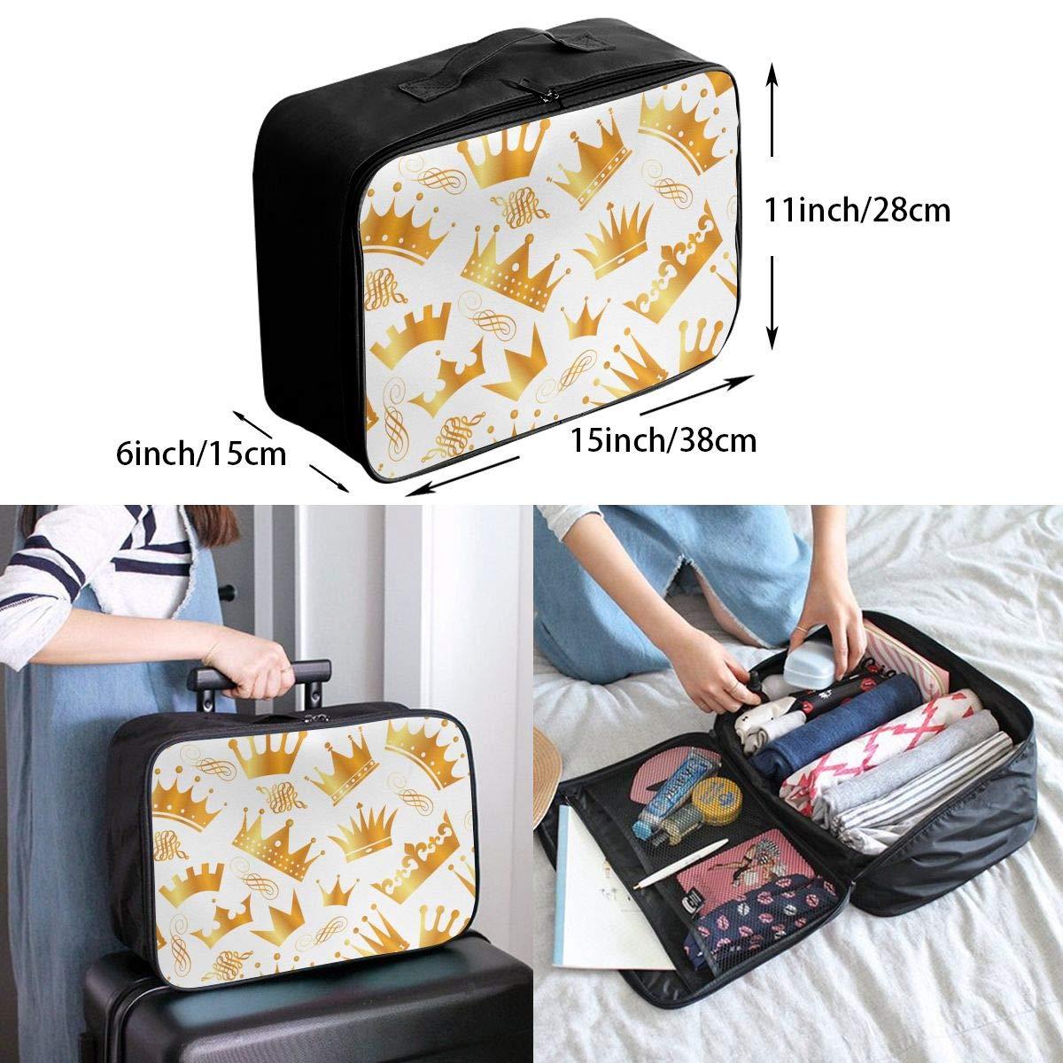 Travel Luggage Duffle Bag Lightweight Portable Handbag Crown Pattern Large Capacity Waterproof Foldable Storage Tote