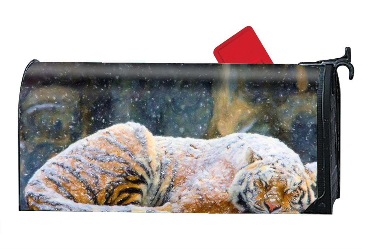 BABBY Mailbox Covers Sleeping Tiger Front Door Decor - Vinyl Magnetic Cover