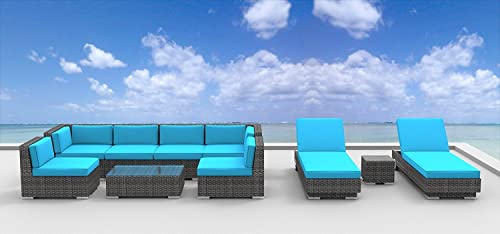 UrbanFurnishing.net Ibiza Patio Furniture, 10 Piece Set Sea Blue