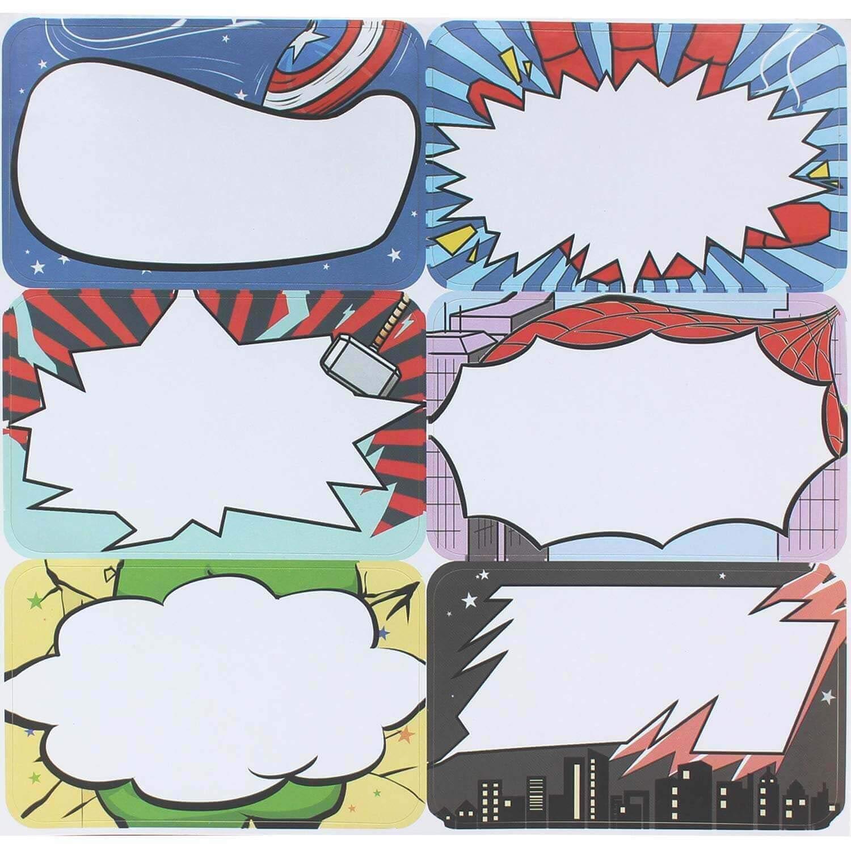 240Pcs Superhero Name Tags Classroom Deak Labels for School Office Home Decorations Teacher Kids Supplies