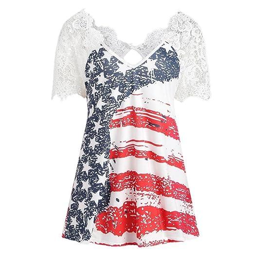 e5d44895253 Caopixx Womens Plus Size T-Shirt Short Sleeve American Flag Printed Lace  V-Neck Tank Top  Clothing