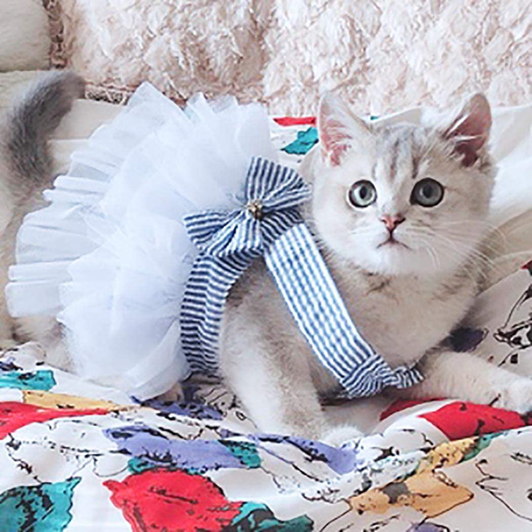 Petea Pet Clothes Cute Elegant Puppy Bowknot Princess Dress Dog Cat Stripe Birthday Gauze Dress for Small Dogs and Cats