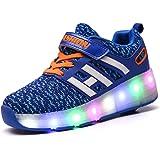 Unisex Sneaker mit Rollen Skateboard Kinder LED Leuchtet Sohle Leuchtend Sport Schuhe Jungen Mädchen (UE 40, D/Rosa/Dan)