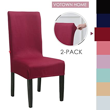 Superb Votown Home Chair Slipcover For Dining Chairs Covers Set Of 2 Wine Red Machost Co Dining Chair Design Ideas Machostcouk