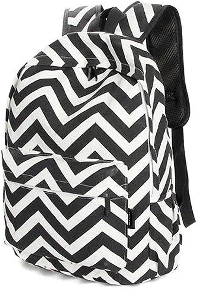 Stripe School Backpack Canvas Women Travel Backpack