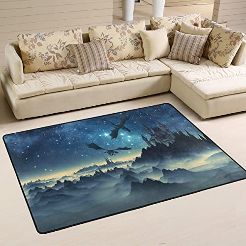 SAVSV 6' x 4' Area Rug Carpet Doormat Lightweight Printed 3D Fantasy Dragons and Castle Easy to Clean