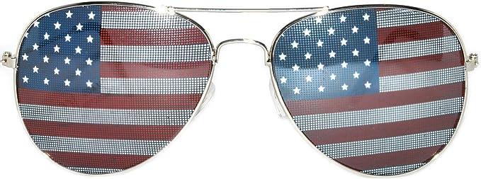 Classic Aviator Sunglasses Silver Metal Frame American Flag Lens OWL.