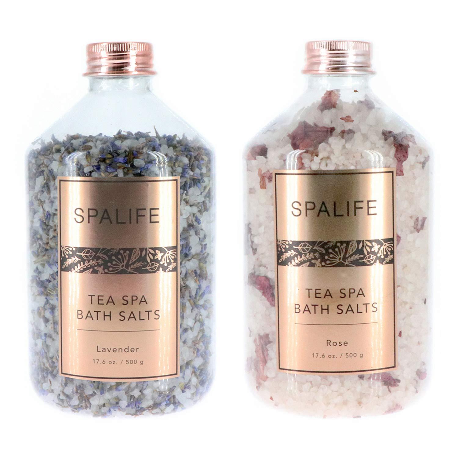 SpaLife Soothing Petal-Infused Effervescent Mineral Bath Salts - 2 Pack 17.6 oz. ea (Lavender & Rose)