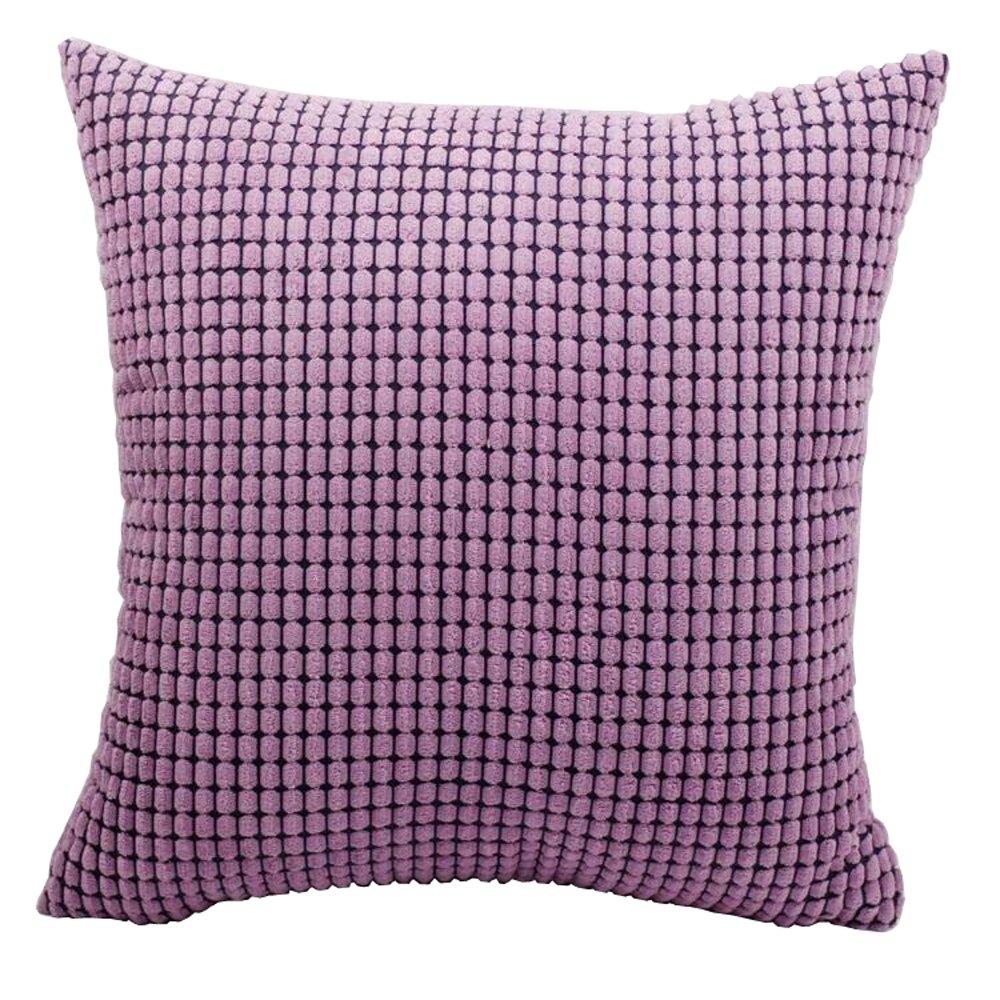 M MOCHOHOME Corduroy Decorative Solid Square Throw Pillow Cover Case Pillowcase Cushion Sham - 24'' x 16'', Purple