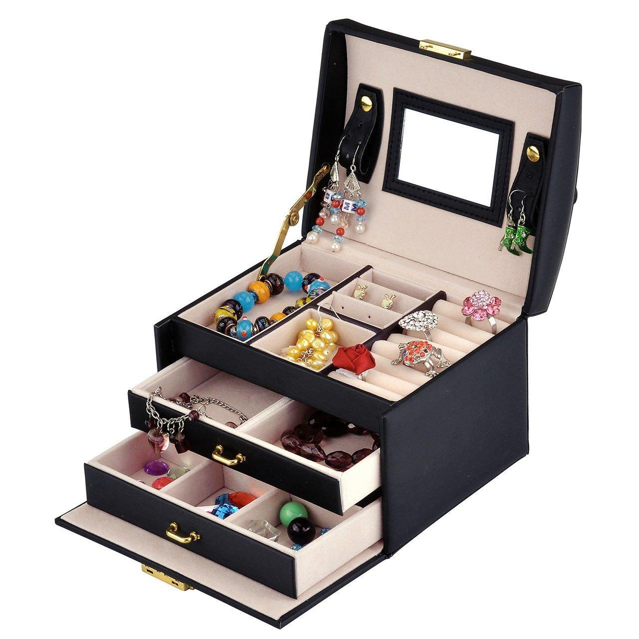 Wuligirl 3-Layer Mirrored Jewelry Box Lockable Travel Jewelry Storage Organizer Display Jewelry Earrings Rings Bracelets Case Black(3-Layer Jewelry Box)