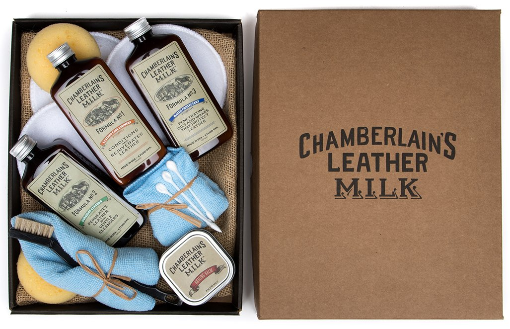 Leather Milk Leather Restoration Kit - Heal & Restore Antique Leather. Cleaner, Conditioner, Water Protectant, Healing Balm, Detailing Brushes, Pads, More! All-Natural. Made in USA by Chamberlain's Leather Milk (Image #1)