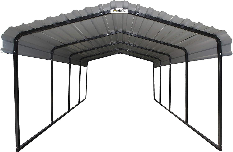 Black//Charcoal Arrow Galvanized Steel Carport 12 x 20 x 7 ft