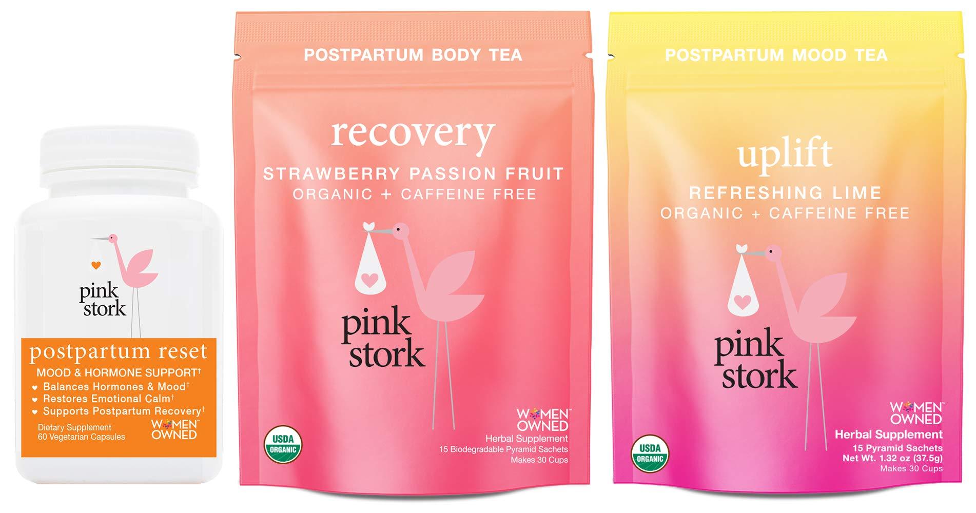 Pink Stork Postpartum Bundle: Postpartum Reset, Uplift Tea, Recovery Tea -Supports Hormones, Encourages Emotional Calm, Restores Nutrients by Pink Stork
