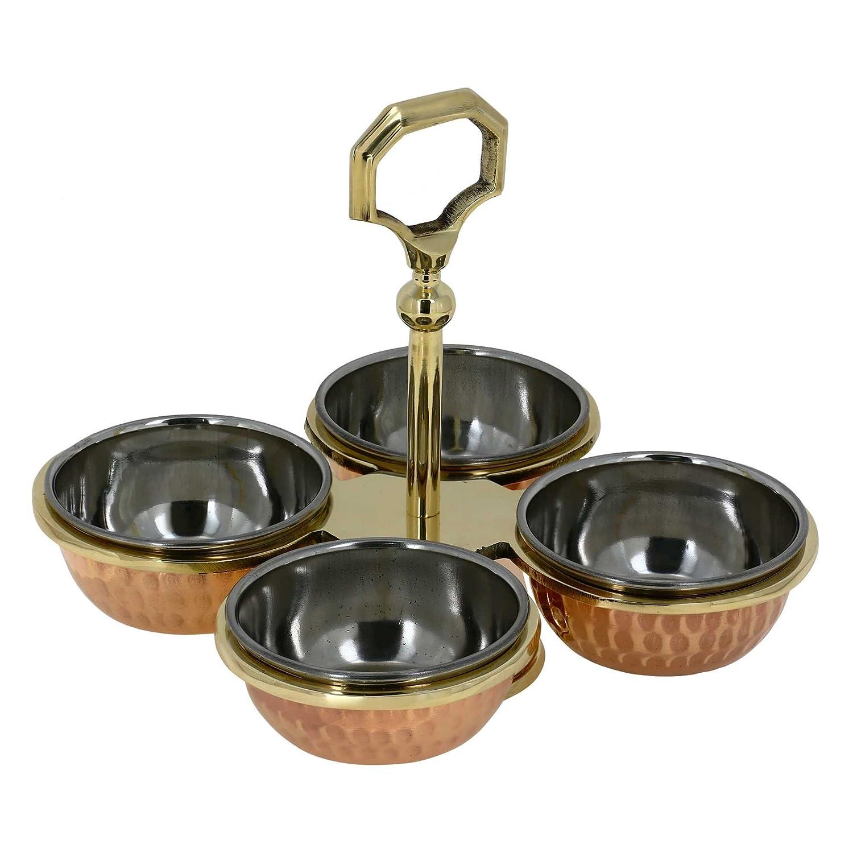 Indian Serve Ware Pickle Condiment Holder Four Serving Bowls 7.62 cm ShalinCraft MN-pickleset_4_bowl