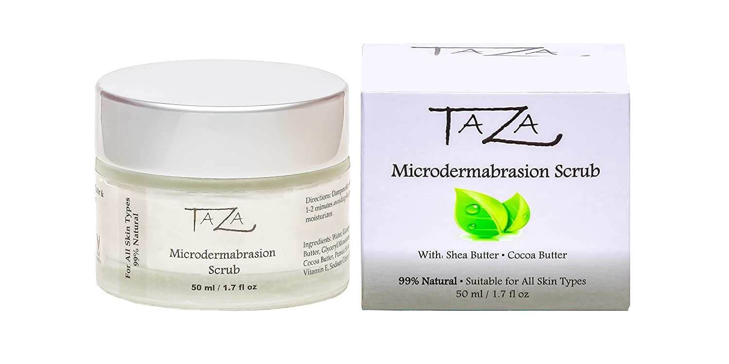 Premium Taza Natural Microdermabrasion Scrub, 50 ml (1.7 fl oz) ♦ Radiant Complexion ♦ With: Shea Butter, Coconut Oil, Grapeseed Oil, Almond Oil, Cocoa Butter Priya Spa