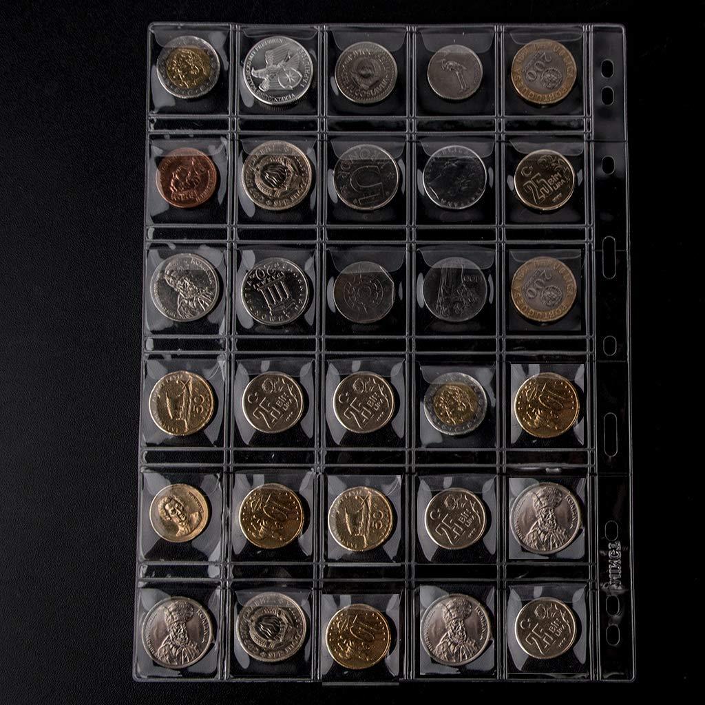 10 Hojas Uncle Paul CS03 Insertos est/ándar de 9 Agujeros para Monedas