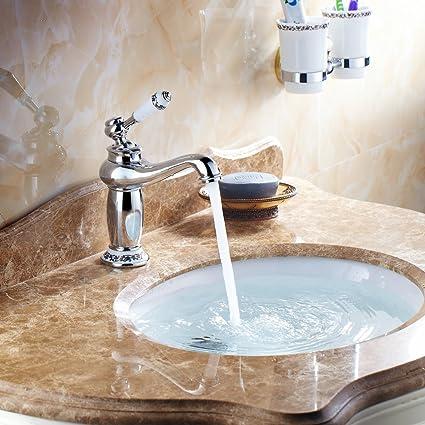 Hiendure® Ottone ponte montato alta arco lavabo rubinetto del lavandino  bagno cucina ceramica bianca gestire, cromato
