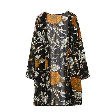 3e4b3941ca346a Amlaiworld ❤️Cardigan Shawl Femmes Imprimé Floral Cover-Up Mousseline de  Soie Longue Cardigan Blouse