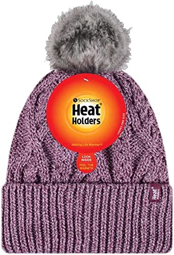 Heat Holders Warm Winter Thermal Solna Pom Pom Beanie Hat