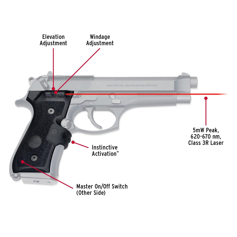 Crimson Trace LG-402-M Lasergrips Red Laser Sight Grips for Beretta  92/96/M9 Pistols - MIL-SPEC