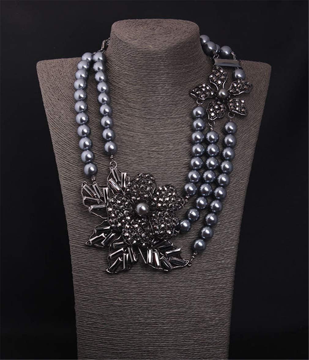 LFANH Negro Perlas de imitación de múltiples Capas de la Piedra Preciosa de la clavícula Collar exageró la joyería de la Vendimia Mujer