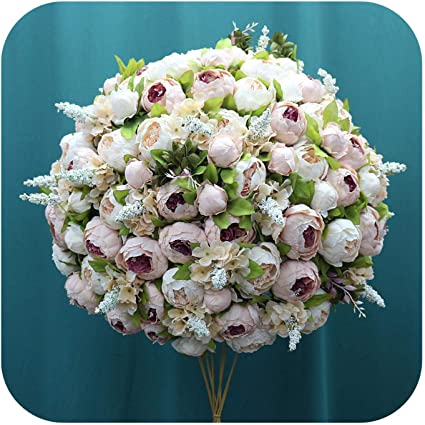 Fostudork Artificial Flowers Vase Dining Table 60cm 3 4 Large Flower Ball Silk Table Centerpiece Party Event Wedding Decor Road Lead Bouquet 09 Amazon Co Uk Kitchen Home