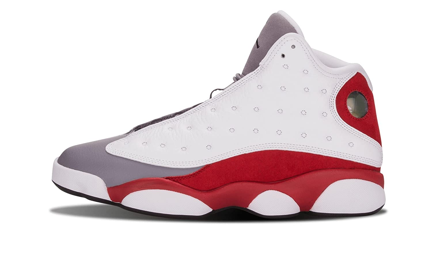 Nike Mens Air Jordan 13 Retro Grey Toe White Black Cement Grey-True Red Leather Basketball Shoes Size