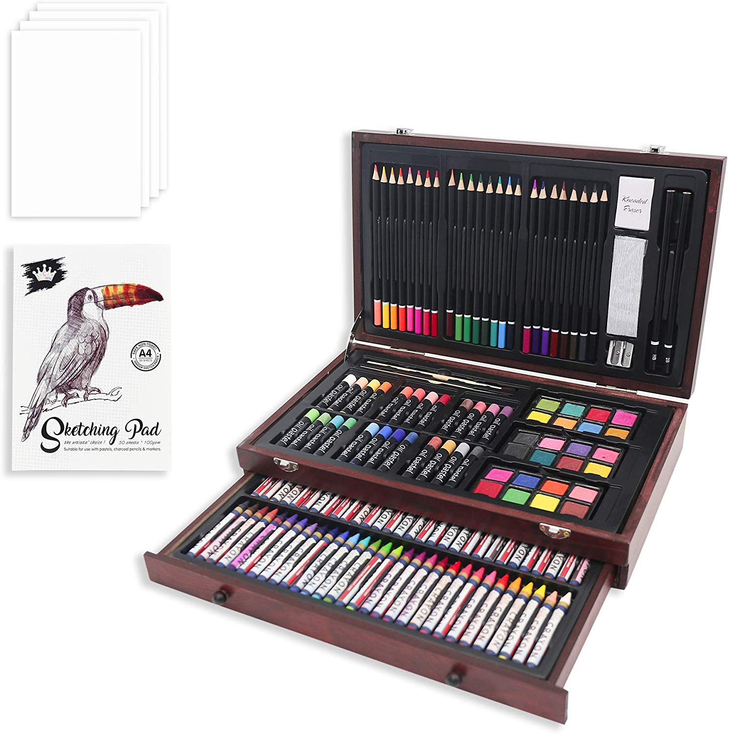 147 Piece Deluxe Art Set,Art Kit for Drawing & Painting,Colored Pencils,Oil Pastel,Art Supplies with Wooden Box for Kids,Teens & Adults by LUCKY CROWN