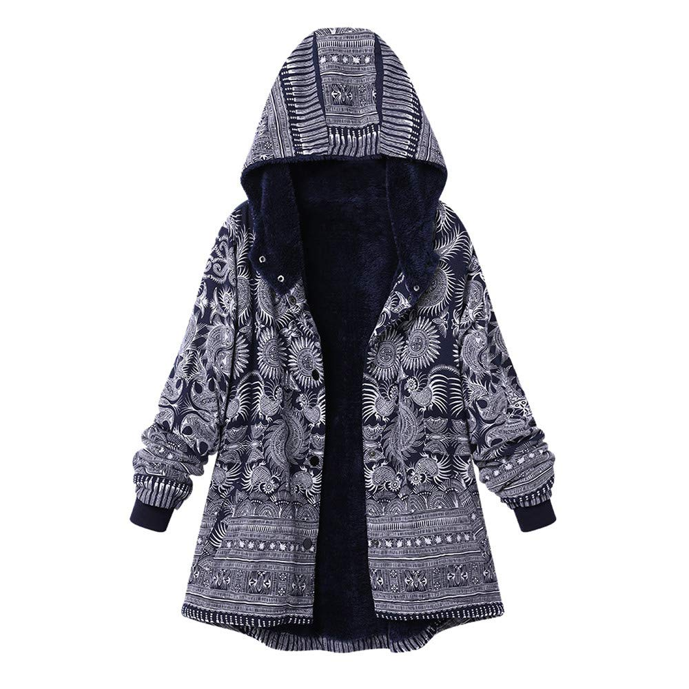 Auifor Frauen mit Kapuze Lange H/ülsen-Weinlese-Damen-Fleece verdicken M/äntel Knopf Long Coat