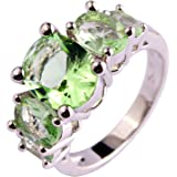 Lingmei Oval Cut Apple Green Main 5-Stone Silver Plated Ring Fashion Style Women Casual Jewelry