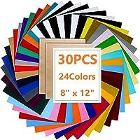 KAHEIGN 30 stuks warmteoverdrachtsfolie, vinyltransferpapier, plotterfolie, 24 kleuren, HTV vinylfolie, glitter…