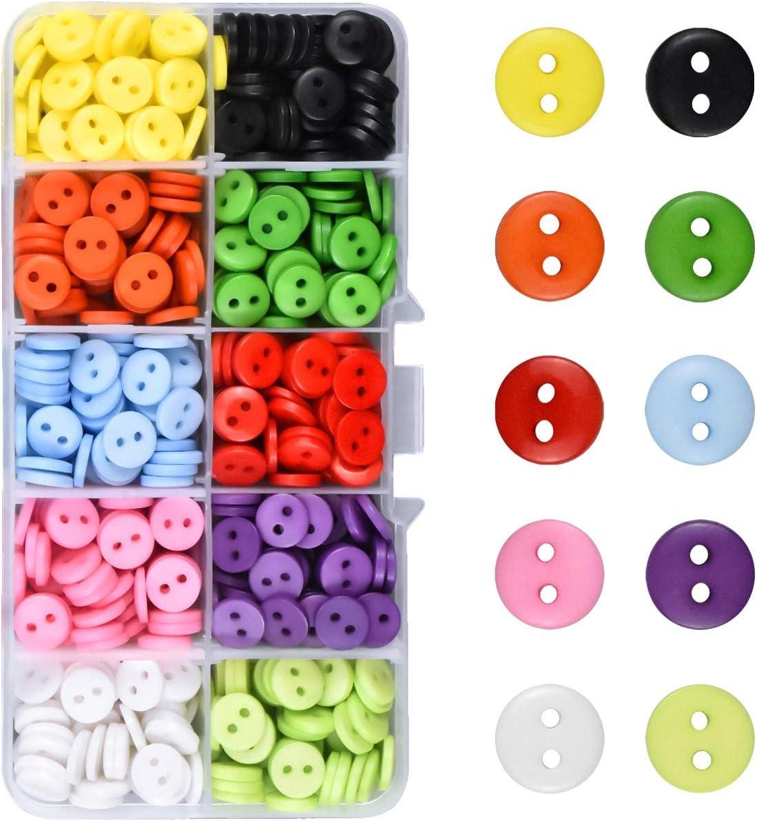 Kissral Bottoni Colorati Set di 750 Bottoni Decorativi Rotondi Artigianali per Bambini Corrispondenti Bottoni da Cucire per attivit/à Ricreative Creative Maglieria Conteggio Multicolore