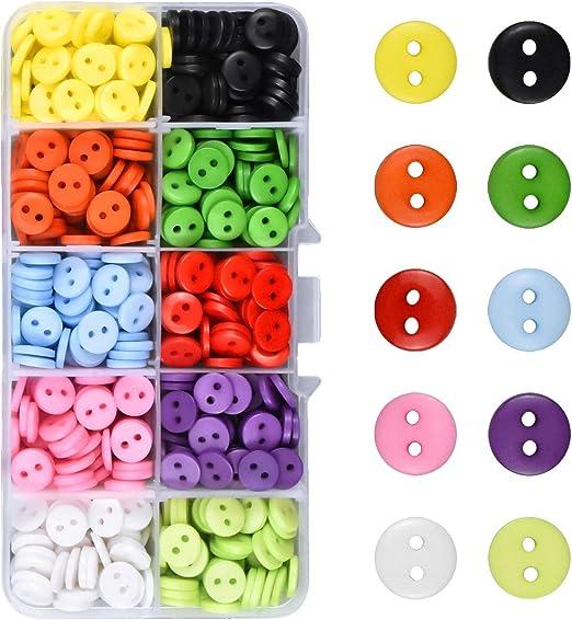 Kissral Botones Costura de Colores DIY Mezclados Botones de Resina con Caja de Plástico para manualidades de Coser Artesanía 750 piezas: Amazon.es: Hogar