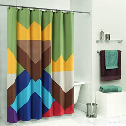 DS CURTAIN Color Blocking Monogram Shower CurtainWaterproof Duck Polyester Fabric CurtainMildew