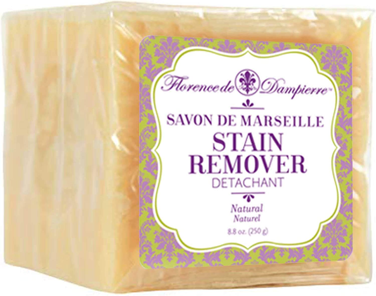 Florence de Dampierre, Organic and All-Natural, Extra-Large, Genuine Savon de Marseille Stain Removing Cube, 8.8 oz. - Unscented