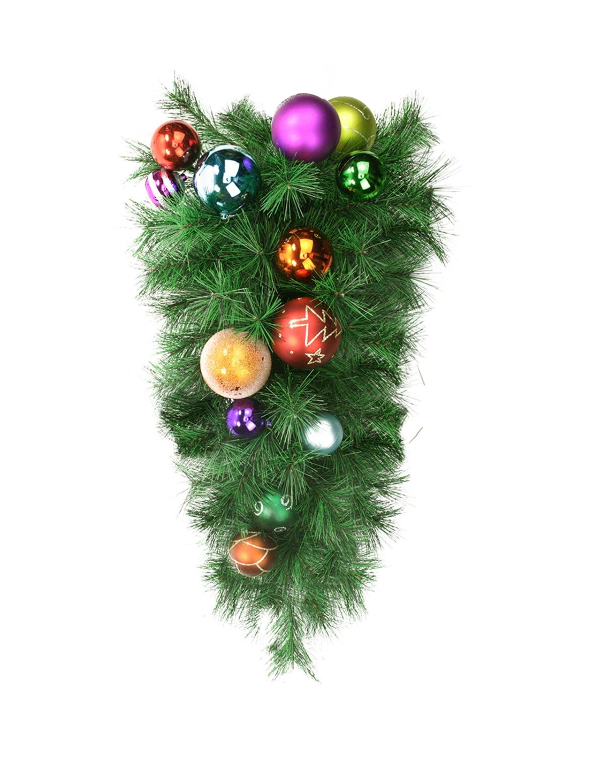 Northlight 24'' Pre-Decorated Multi-Color Ball Ornament Long Needle Pine Artificial Christmas Teardrop Swag - Unlit