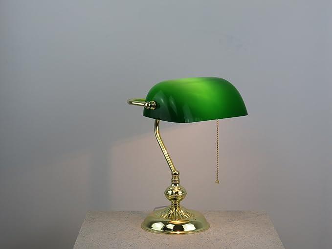 Lampada Ufficio Verde : Dina lampada da tavolo ministeriale oro vetro verde stile western