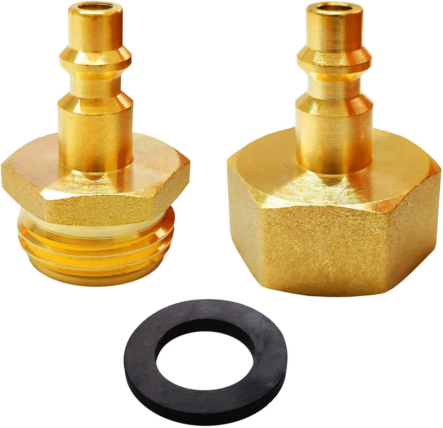 "Lomodo 2 Pieces Brass Blow Out Adapter for Winterize Sprinkler Systems, Air Compressor 1/4"" Quick Connect Plug to Garden Hose Faucet 3/4"" Thread for Removing Water from Water Lines"