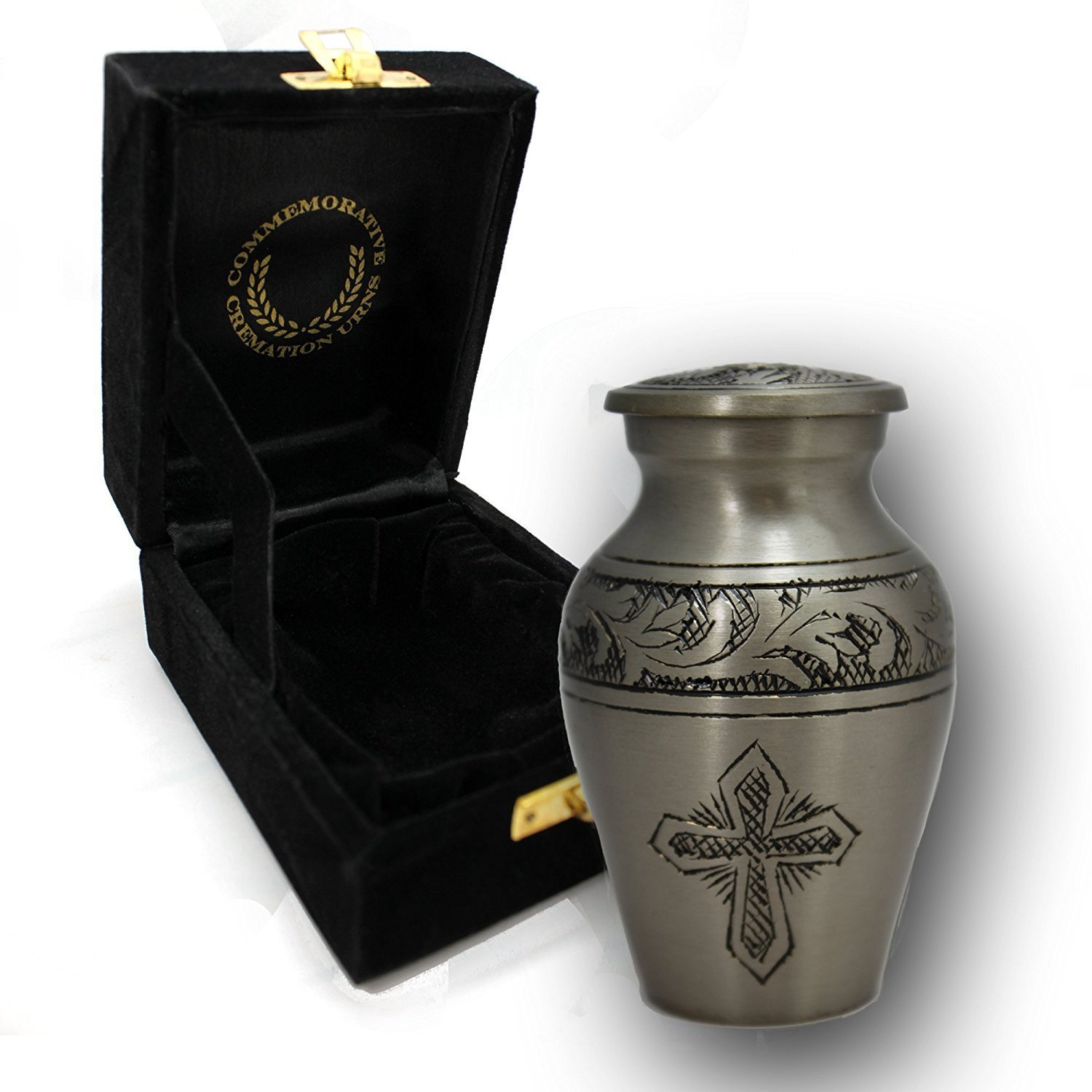Love of Christ Silver Brass Metal Funeral Cremation Urn for Human Ashes - Small/Keepsake