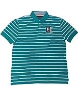 Tommy Hilfiger Mens Short Sleeve Shirt Aqua Striped, X-Large