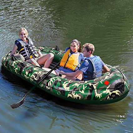 Inflatable Boat Series Explorer Touring Kayak Canoe Boat Set 2-Person PVC Inflatable Rafting Fishing Dinghy Tender Pontoon Boat for Water Sports Fun